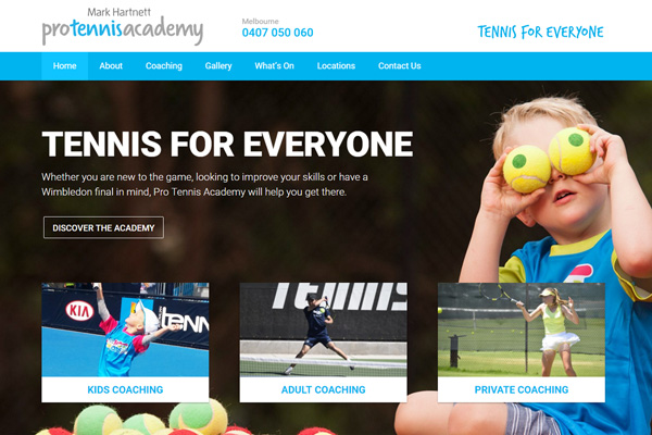 Pro Tennis Academy WordPress Website