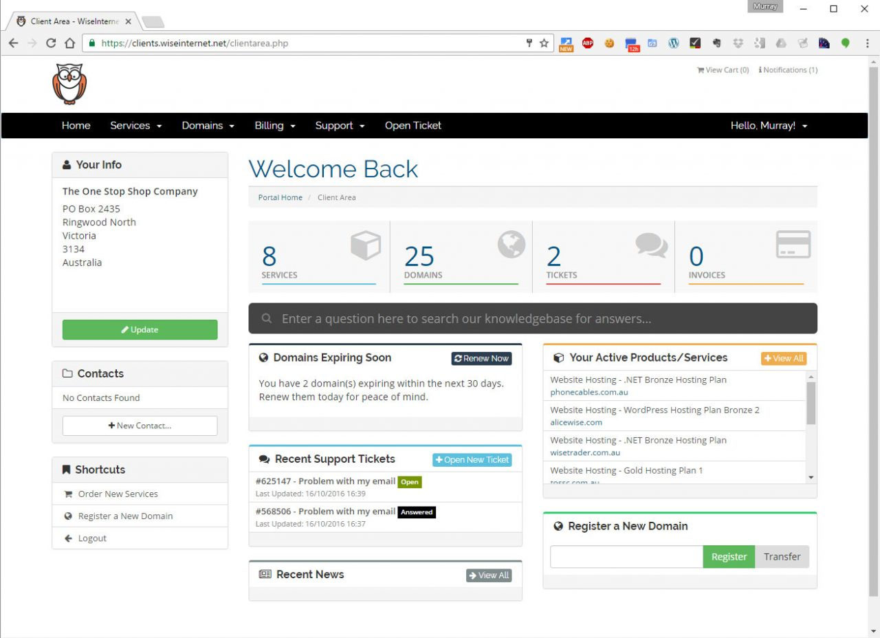 WordPress Hosting Management Dashboard