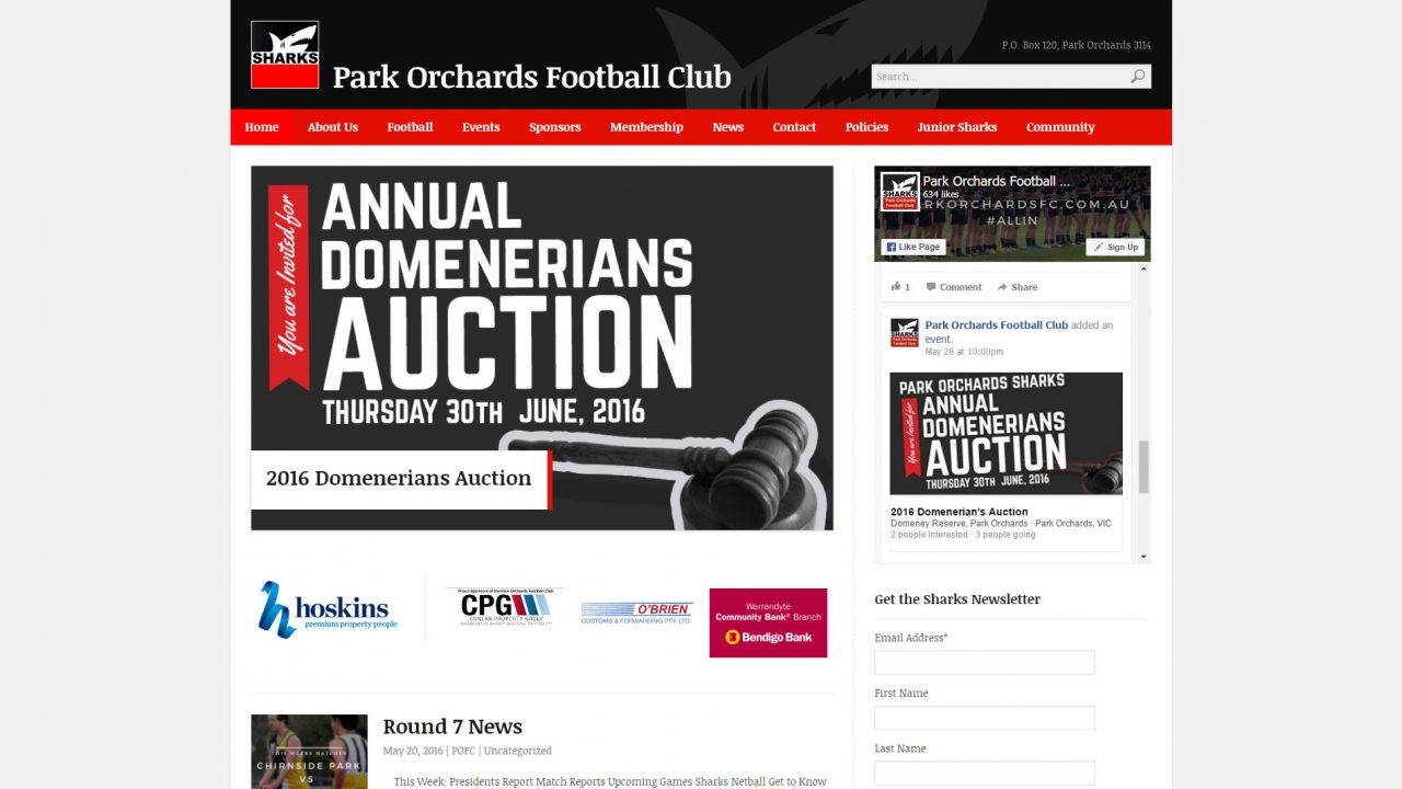 Park Orchards FC - Desktop